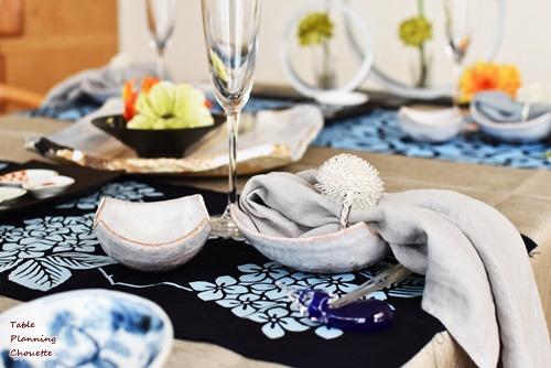 和食器と手拭いを使ってコーディネート